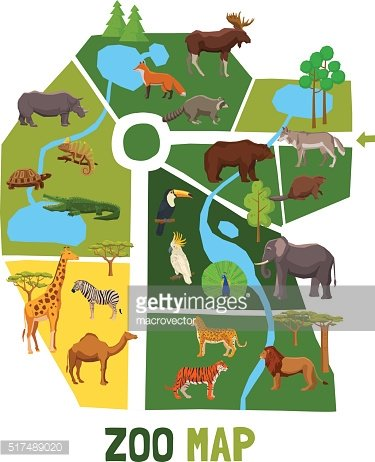 Cartoon Zoo Map With Animals Clipart Image.