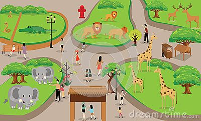 Zoo cartoon people family with animals scene vector.