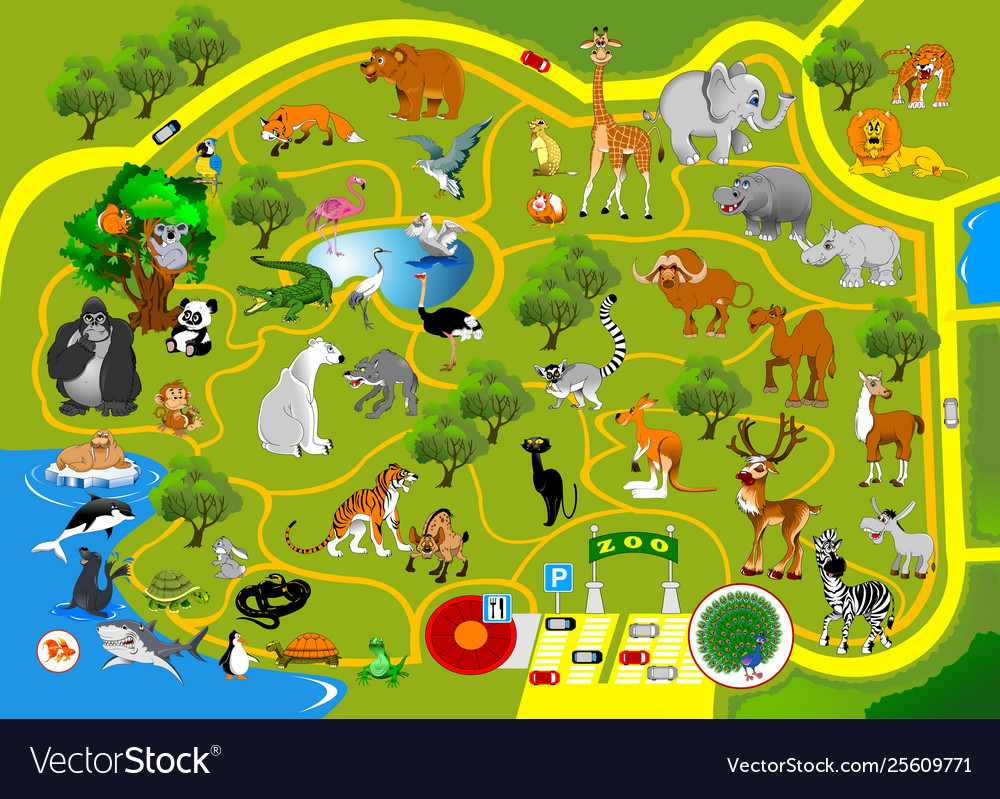 Zoo map vector image.