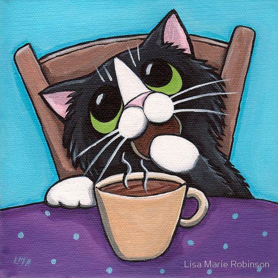 Позитивные рисунки котиков от от Lisa Marie Robinson.