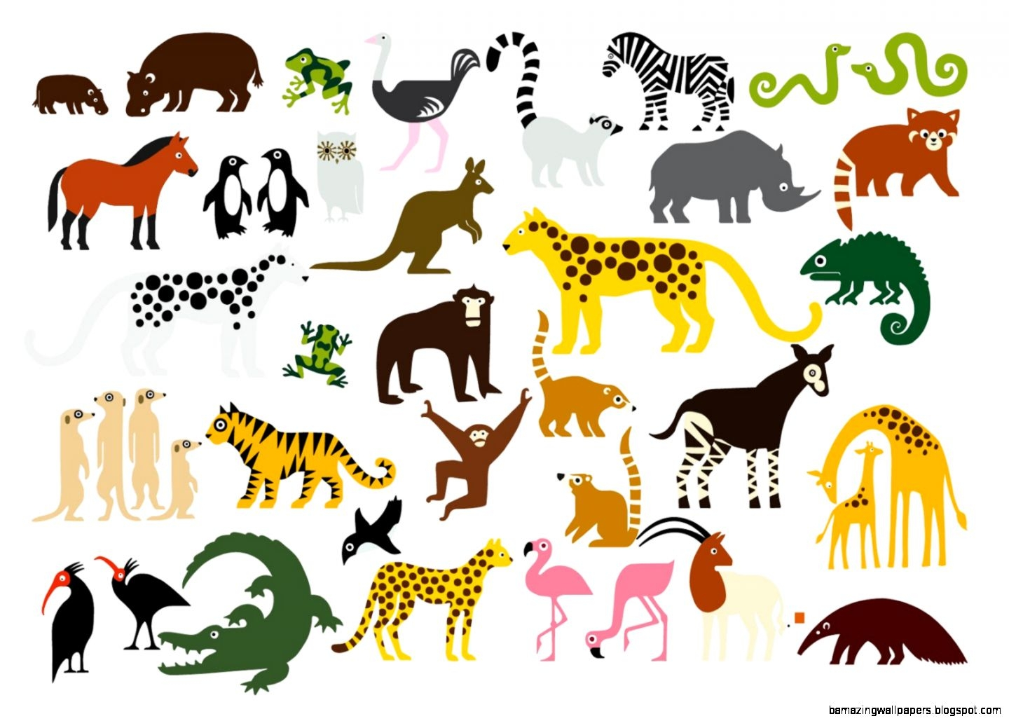 1308 Zoo Animals free clipart.