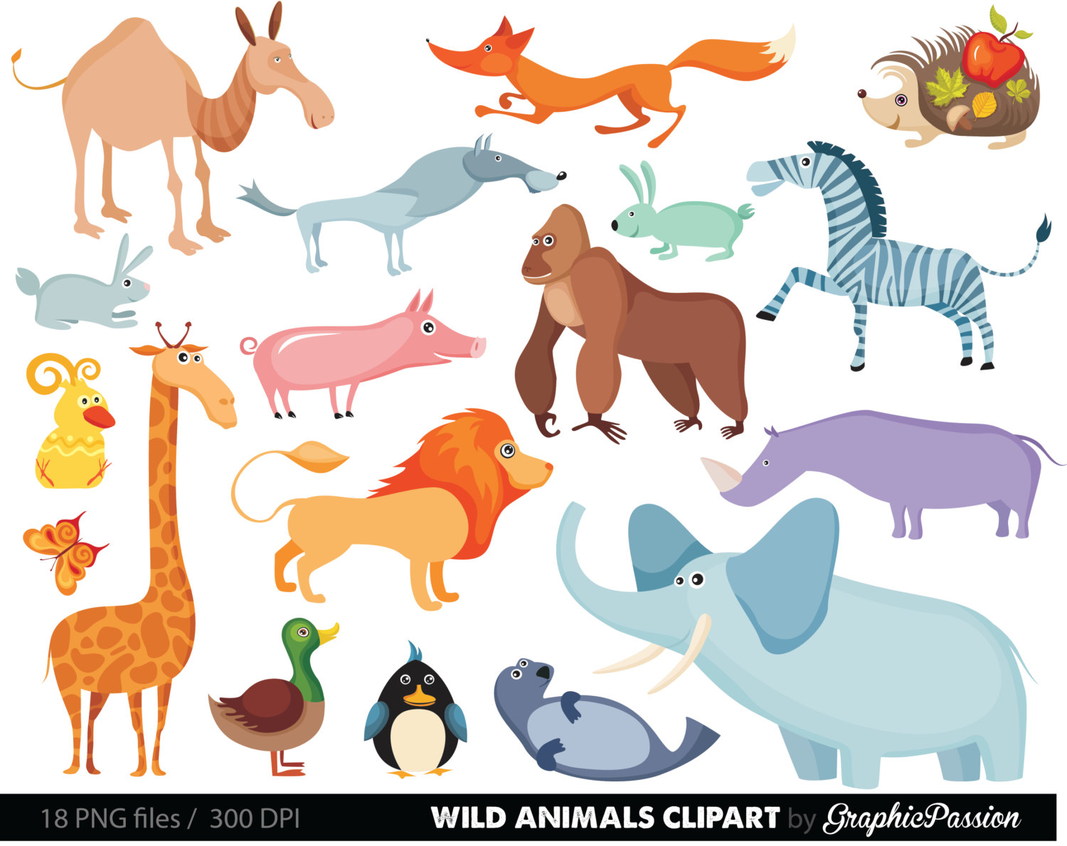 Zoo Animals Clipart With Names.
