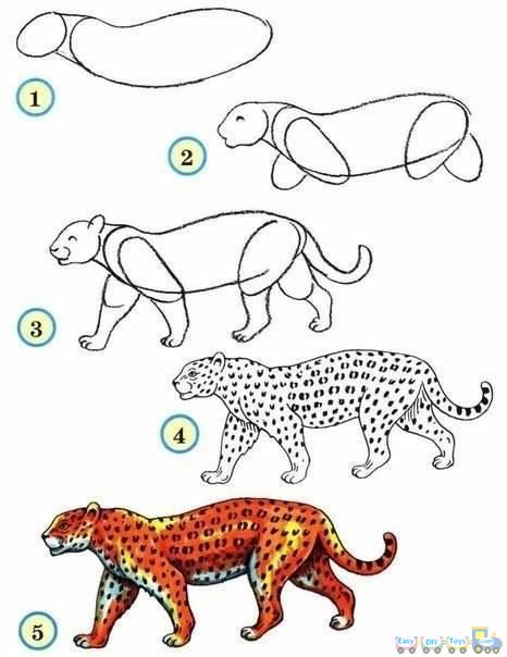 Drawing Simple Animal Panther pics.