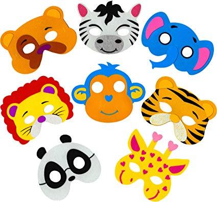Little Seahorse Zoo Animal Masks for Kids Party, 8 Assorted Felt Masks,  Great for Animal, Zoo, Jungle, Safari Themed Christmas, Halloween, Birthday.