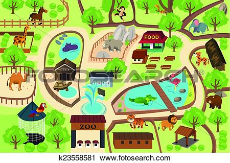 Clipart of Map of a zoo park k23558581.