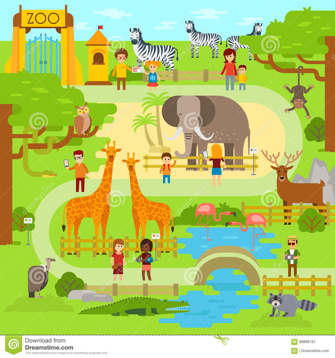 Map Zoo Park Stock Illustrations.