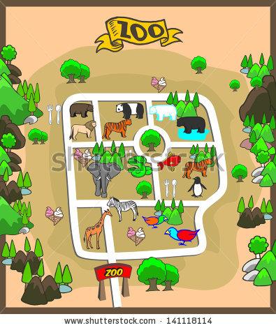 Map Zoo Park Stock Vector 141118114.