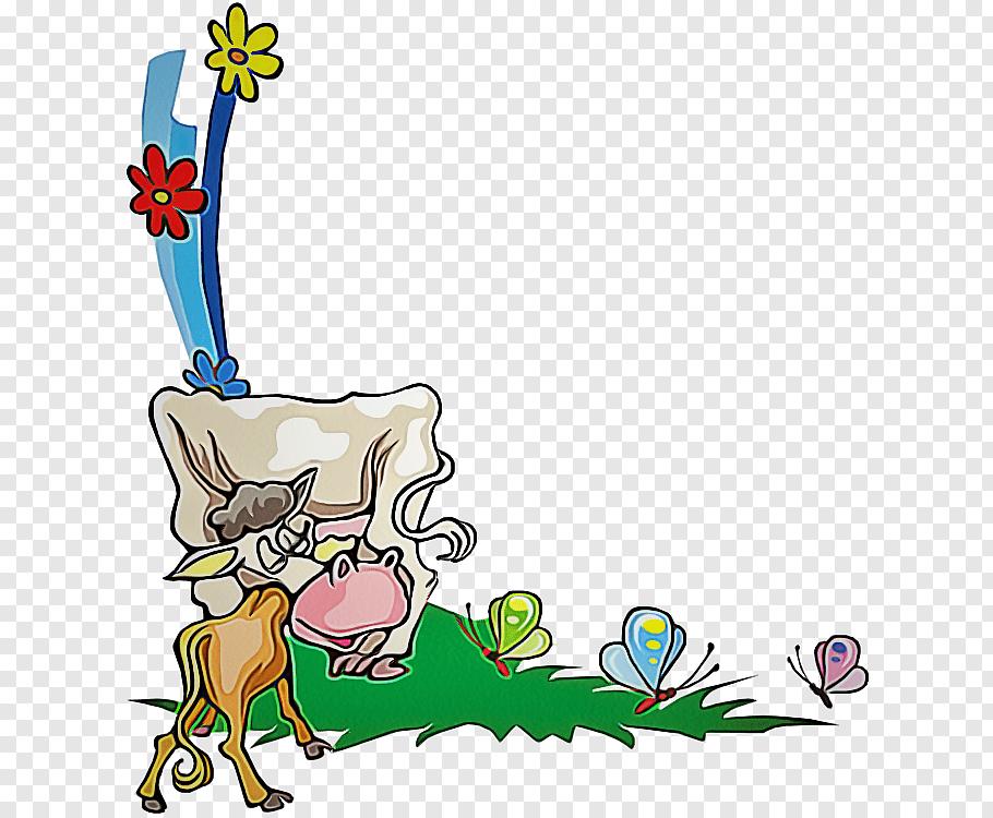 Cartoon Design Cattle Silhouette Animal, Cartoon, Picture.