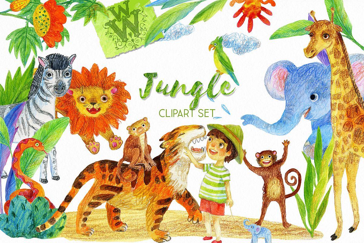 Jungle animal clipart, safari zoo clip art, lion, tiger, kid.