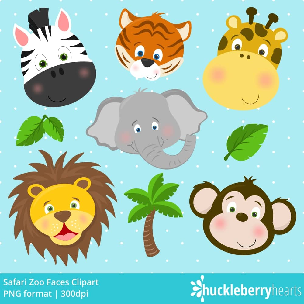 Safari Zoo Faces Clipart.