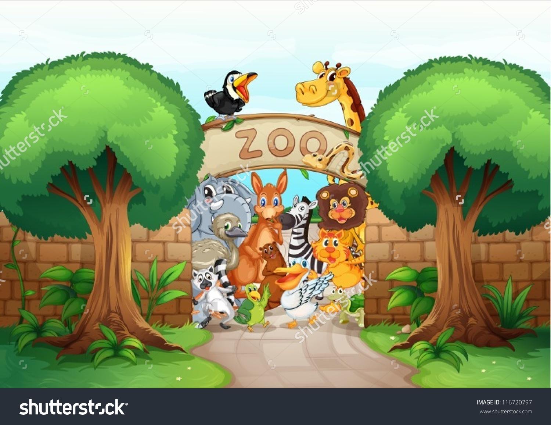 Illustration Zoo Animals Beautiful Nature Stock Vector 116720797.
