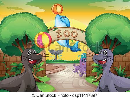 EPS Vectors of sea animals in zoo.