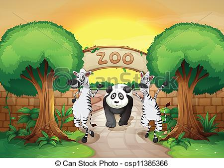 Clip Art Vector of a zoo and the animals.