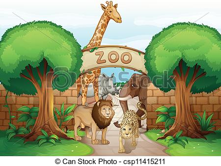 Vector Clip Art of a zoo and the animals.