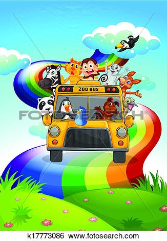 Clip Art of A zoo bus travelling through the rainbow road.