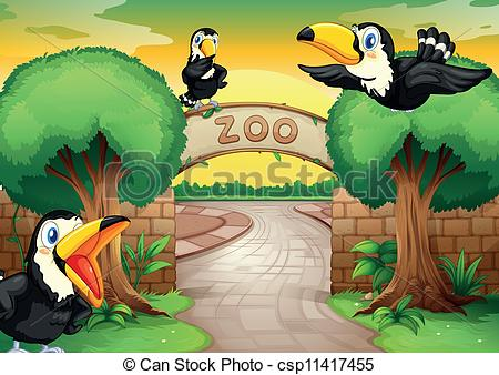 Clipart Vector of zoo and birds.