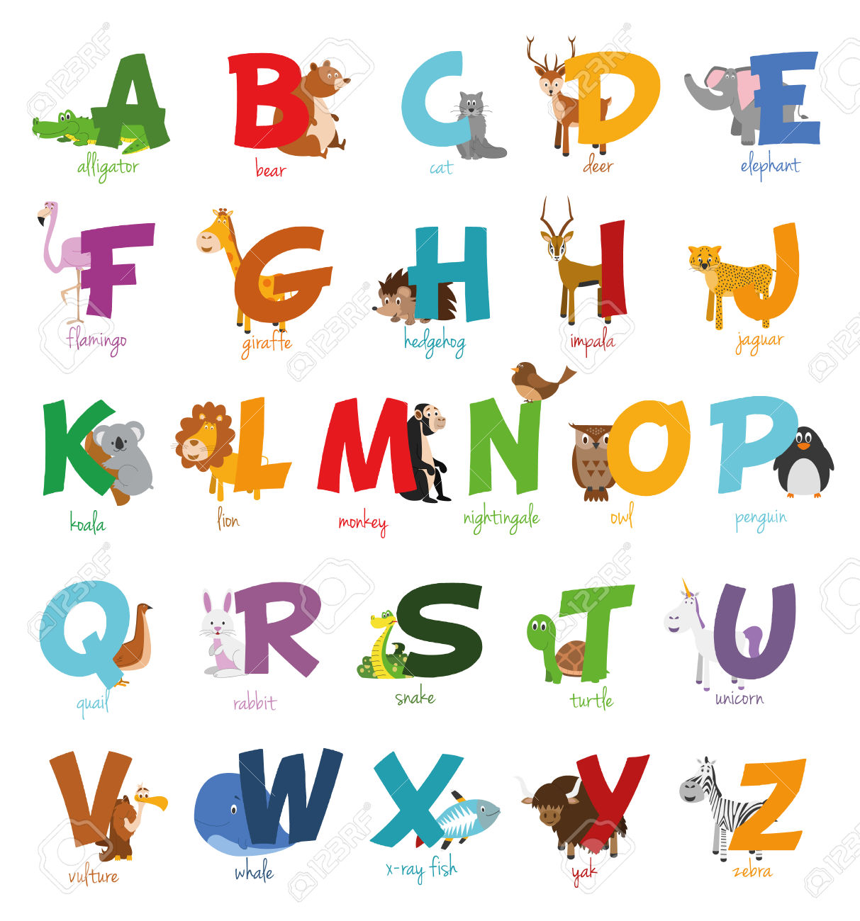 Cute Cartoon Illustrated Alphabet With Funny Zoo Animals. Royalty.