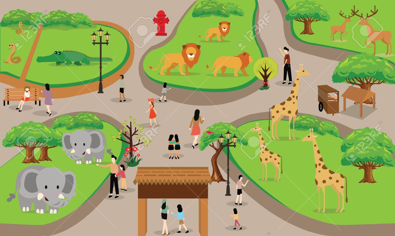 zoo cartoon people family with animals scene vector illustration...
