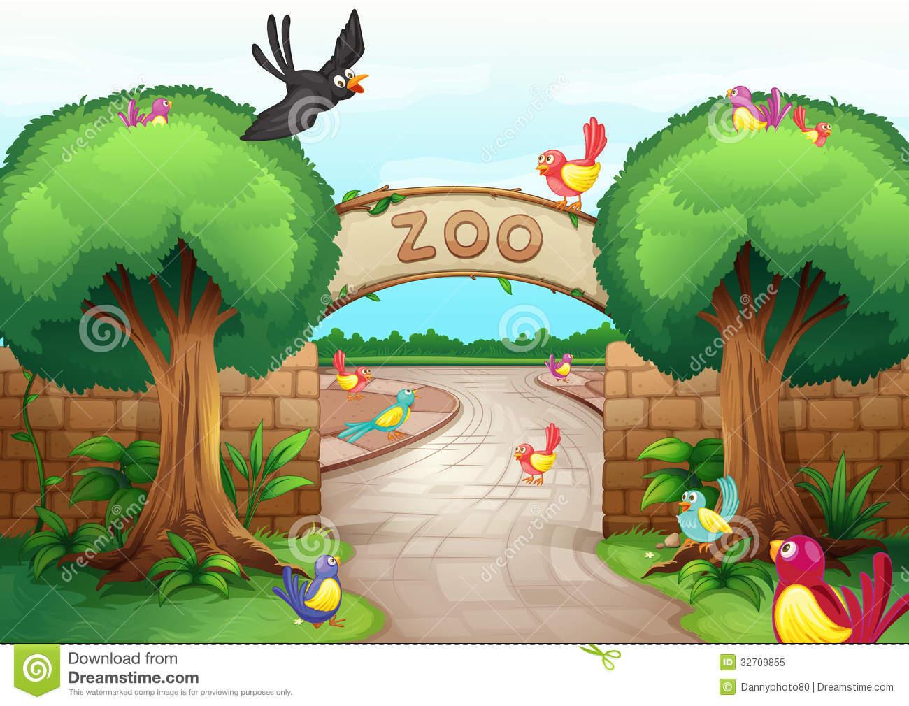 Zoo scene stock vector. Illustration of bird, clipart.