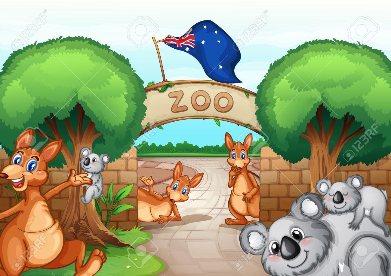 Illustration of a zoo scene.