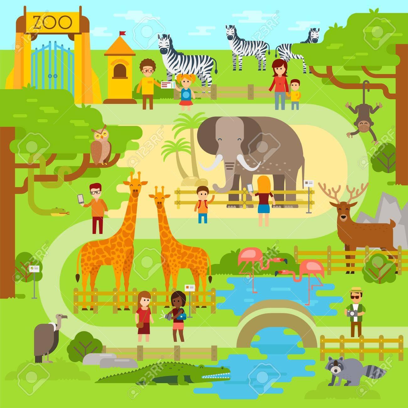 Zoo vector flat illustration. Animals vector flat design. Zoo...