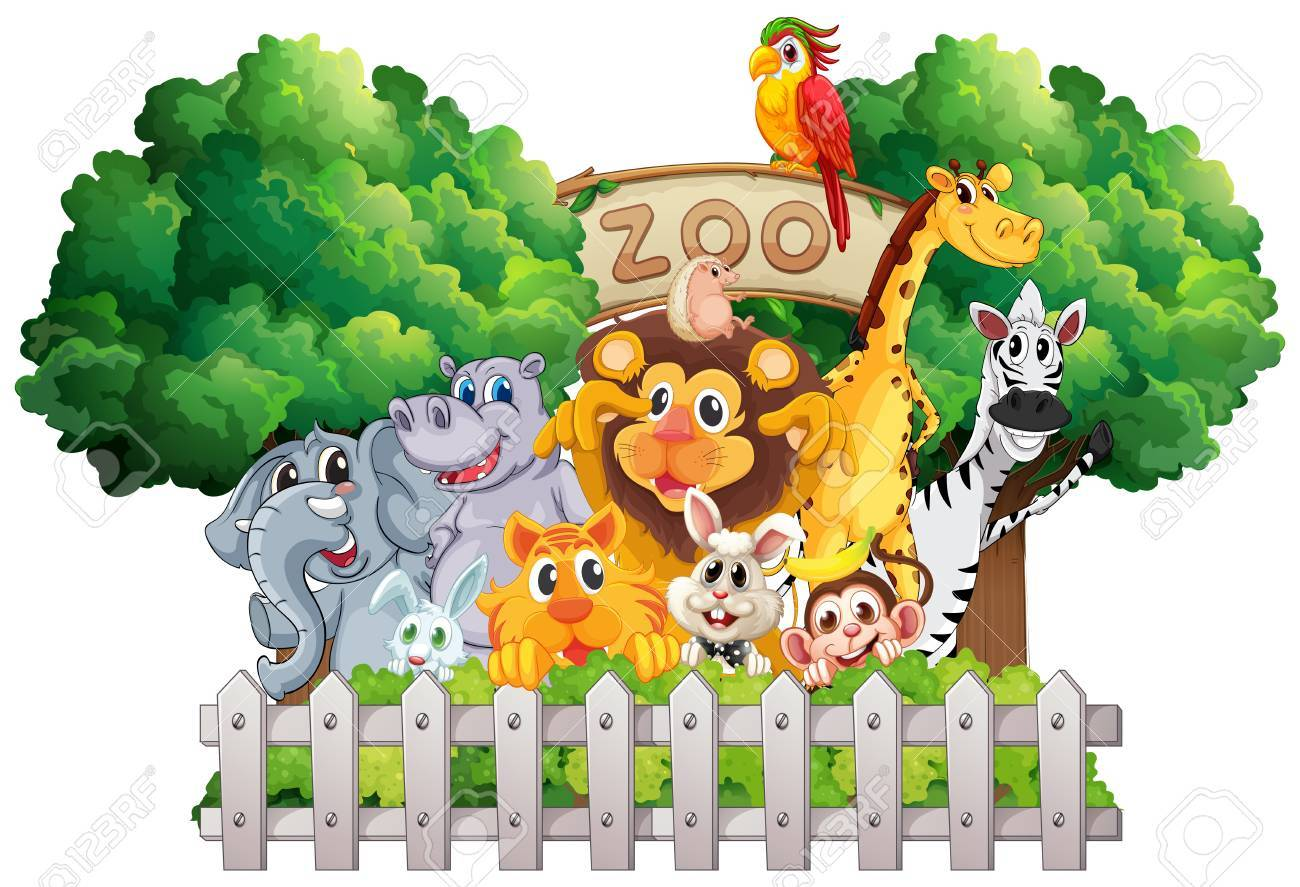 Scene with zoo animals and sign illustration.