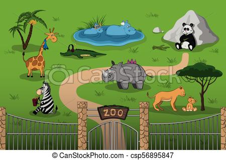 Animals of zoo in cartoon style. Scene with funny characters. Wildlife  poster.