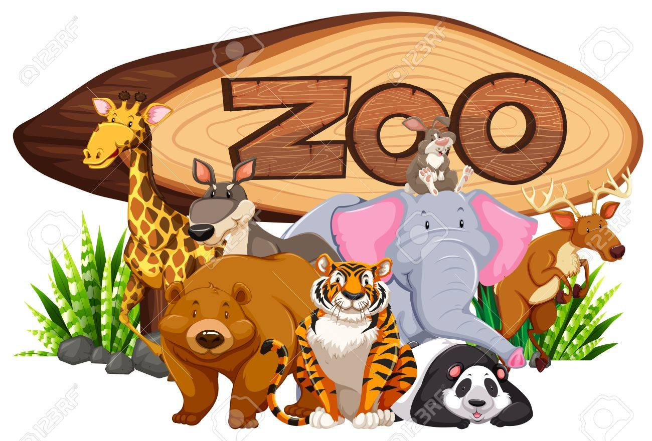 Wild animals by the zoo sign illustration.