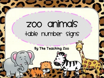 Zoo Animals Table Numbers {Jungle Safari Theme}.