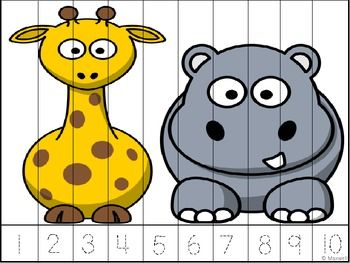Math Zoo, Jungle or Wild Animal Theme Skip Counting Color or.