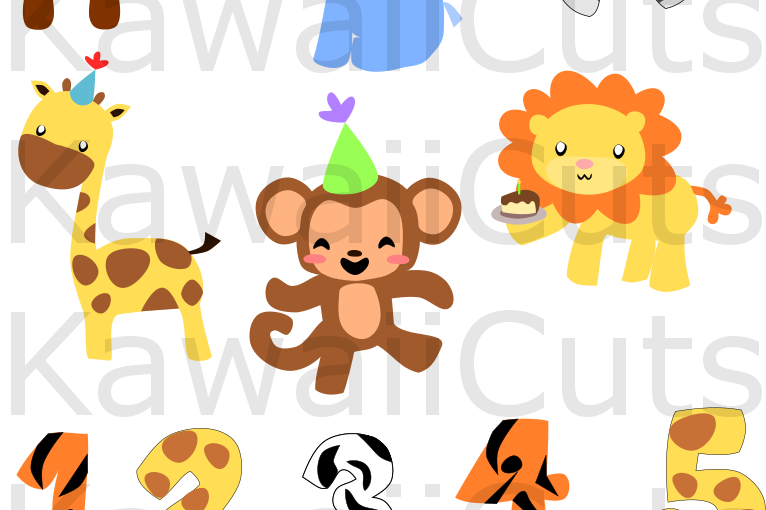 Zoo Animals Birthday Set SVG Cut File, for Cricut, cutting machines, clip  art, vector,.