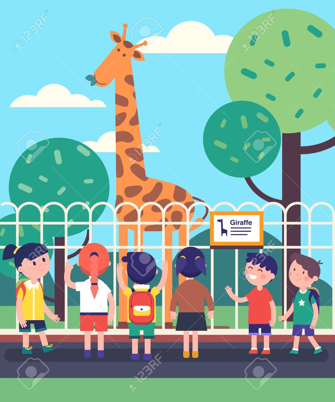Group of kids watching giraffe at a zoo excursion. School or...