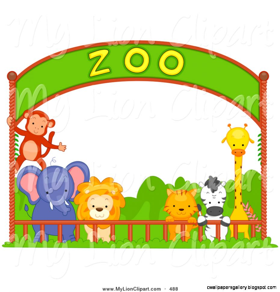 Zoo Animals In Cages Clipart.