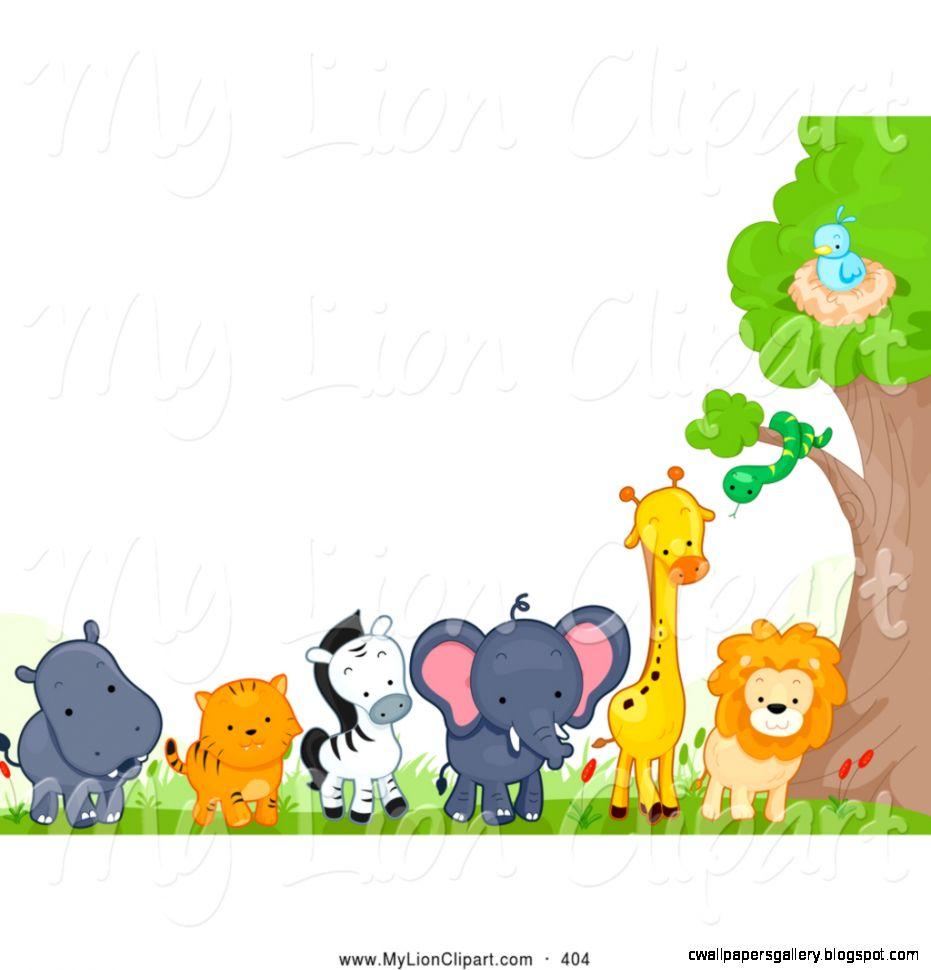 Zoo Animals Clipart Border.