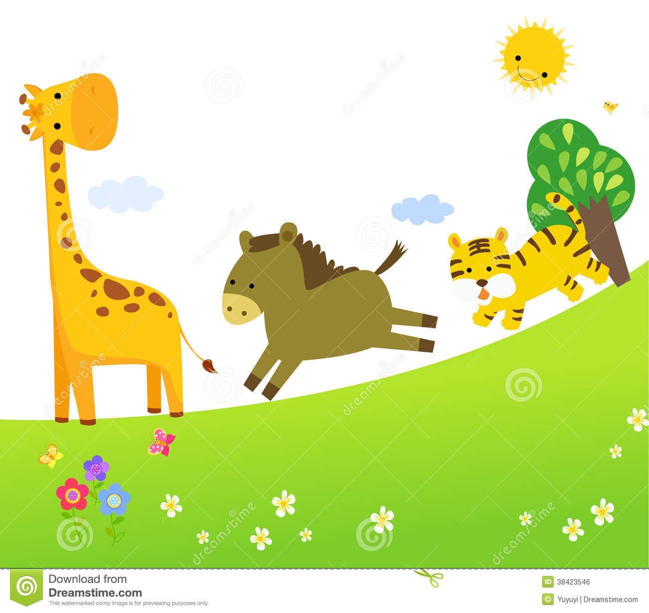 Cute Vector Set Of Zoo Animals Royalty Free Stock Image.