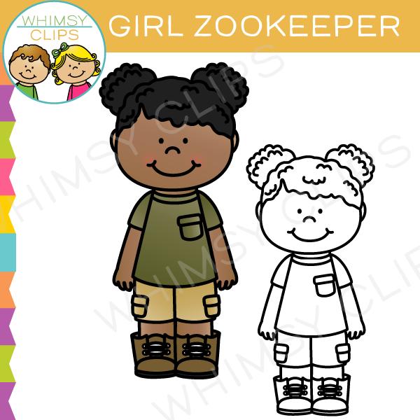 Girl Zookeeper Clip Art.