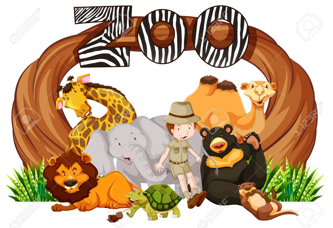 Zookeeper and wild animals at zoo entrance illustration.