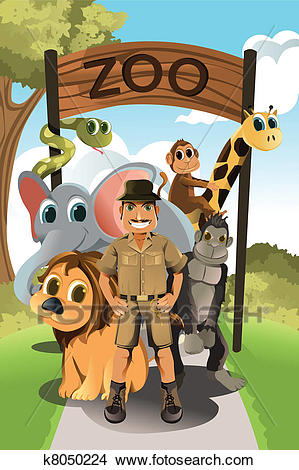 Zookeeper and wild animals Clipart.