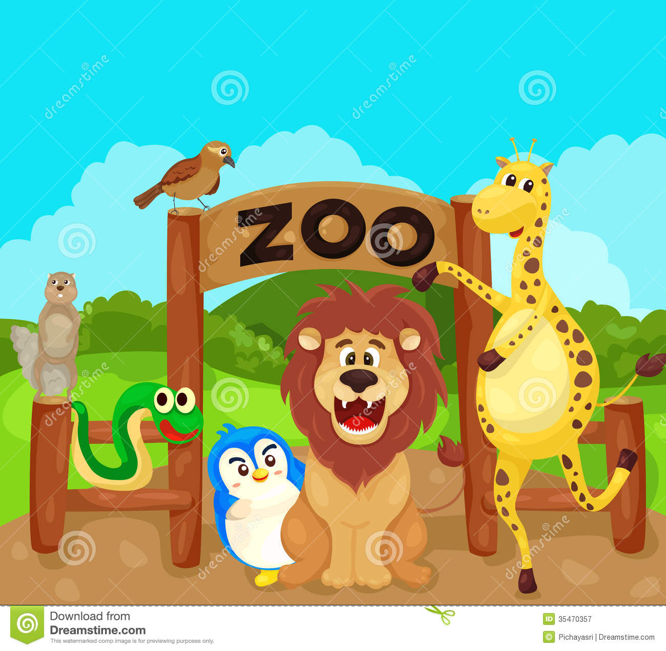 Zoo Sign With Animals Royalty Free Stock Photography.