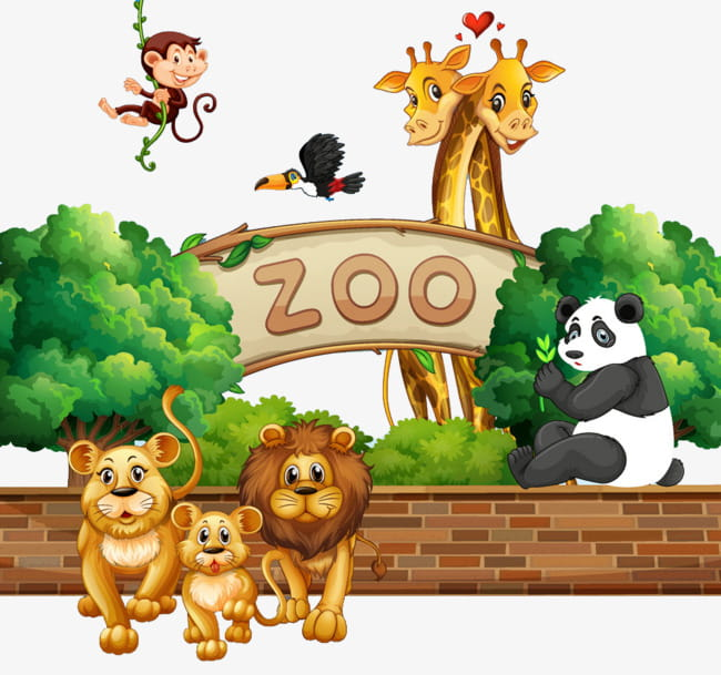 Small zoo animals PNG clipart.