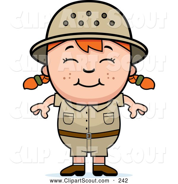 Clipart of a Happy Red Haired African Safari Girl  for.