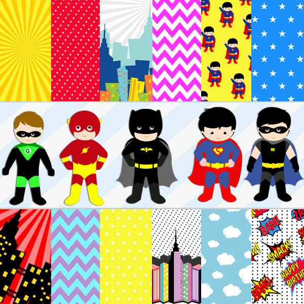 Superheroes background clipart.