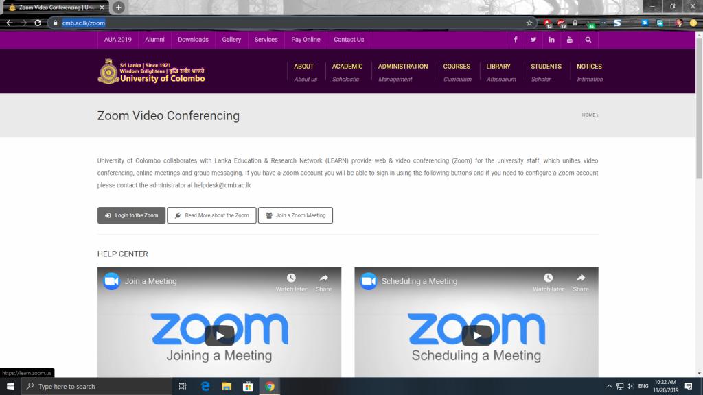 Zoom Video Conferencing.