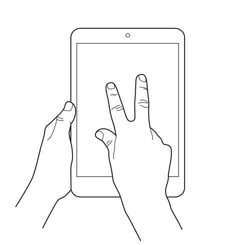 Zoom out gesture icon for tablet touch devices..