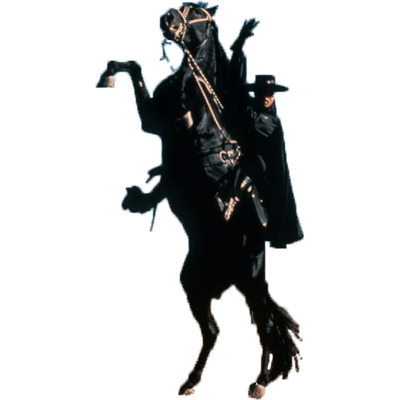 Zorro on His Horse transparent PNG.