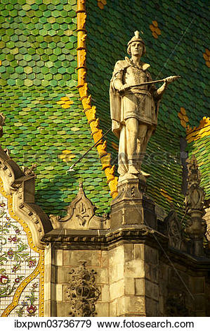 "Stock Photograph of ""Statue on Zsolnay tiled roof, Museum of."