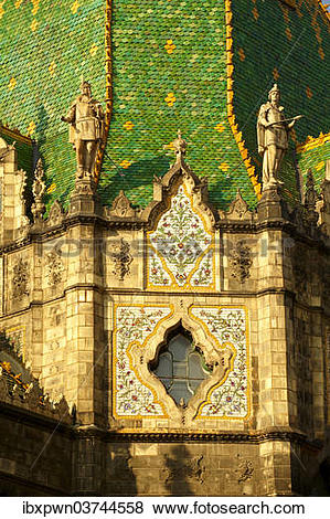 "Pictures of ""Zsolnay tiled roof, Museum of Applied Arts, designed."