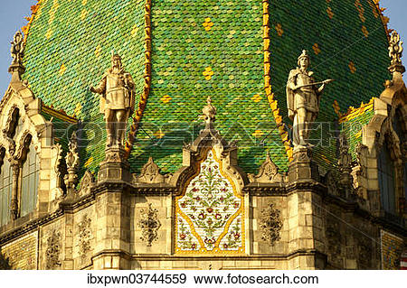 "Stock Photograph of ""Statues on Zsolnay tiled roof, Museum of."