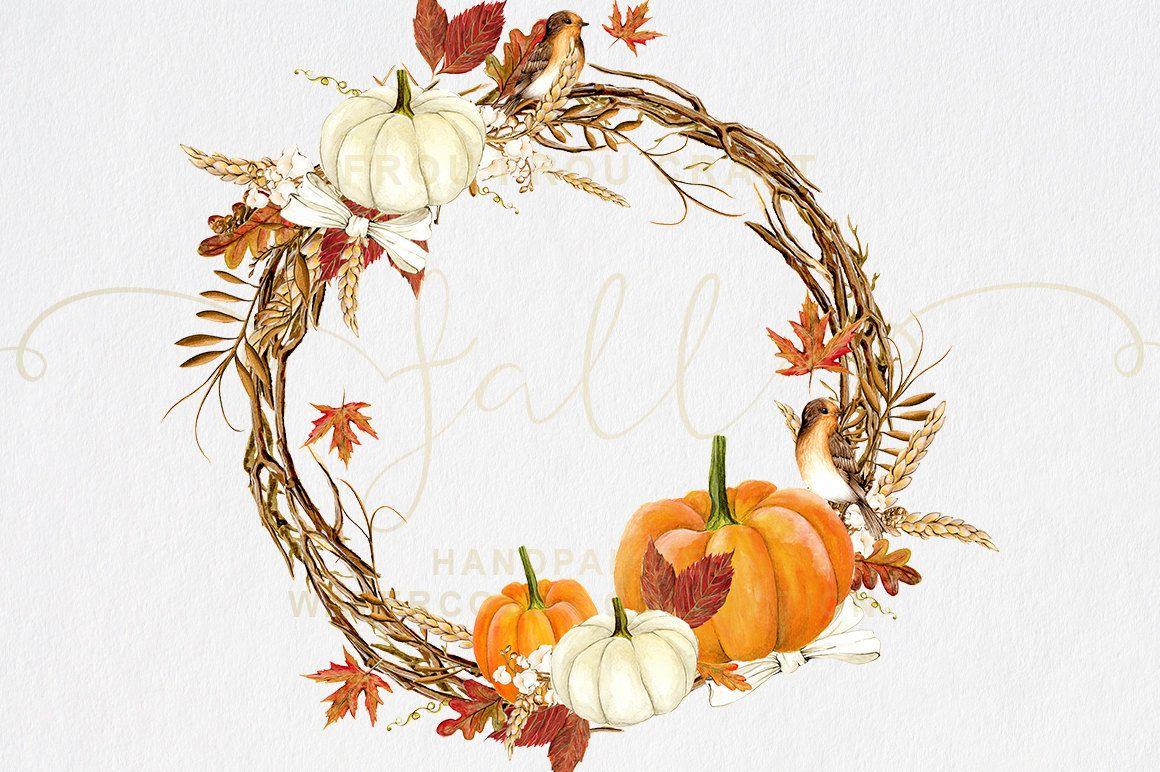 Fall Clip Art Autumn Clipart Watercolor Pumpkin Halloween.