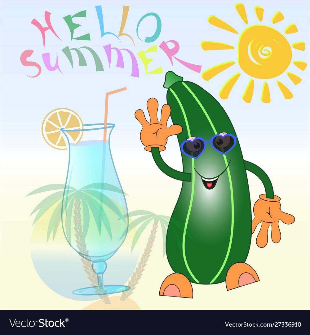 Hello summer zucchini cartoon.